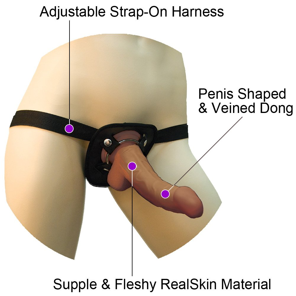 """RealSkin Latin American Whoppers Curved Dong with Universal Harness, 6.5"""", Brown"""