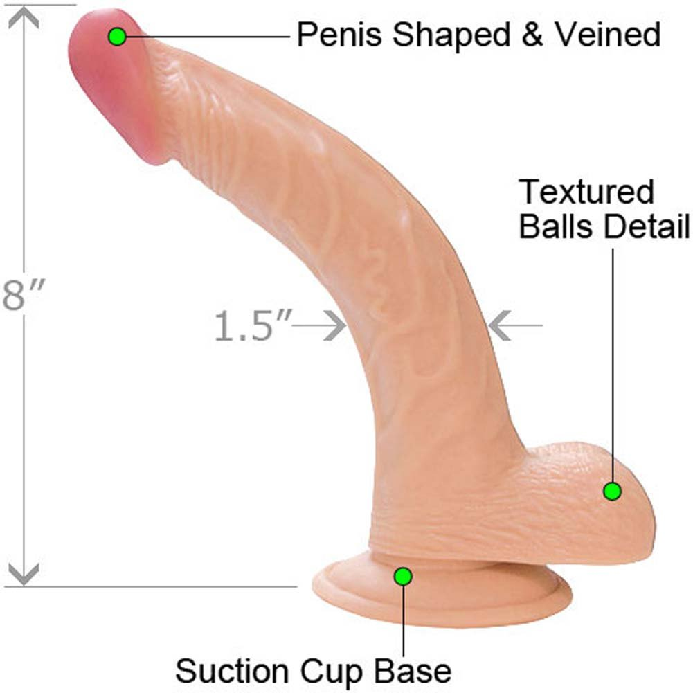 "RealSkin All American Whoppers Curved Dong with Balls, 8"", Flesh"