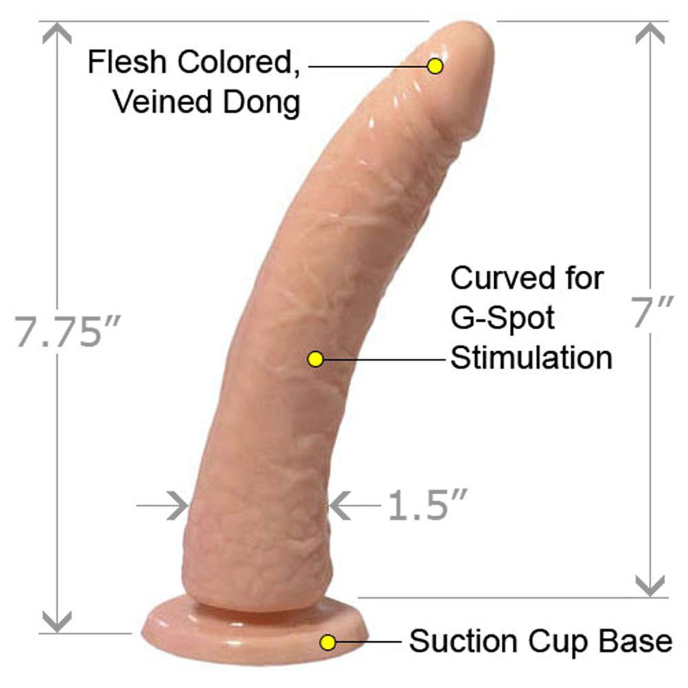 """Basix Rubber Works Slim Dong with Suction Cup, 7"""", Flesh"""