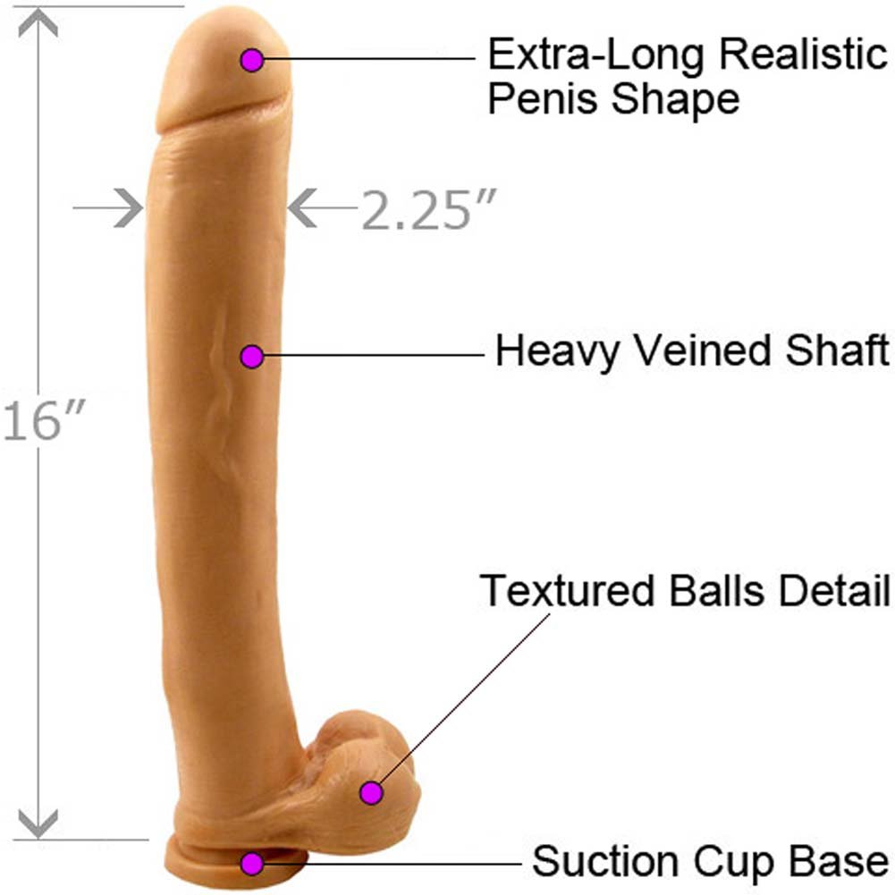 """Ignite Exxxtreme Life Like Dong with Balls and Suction Base, 16"""", Flesh"""