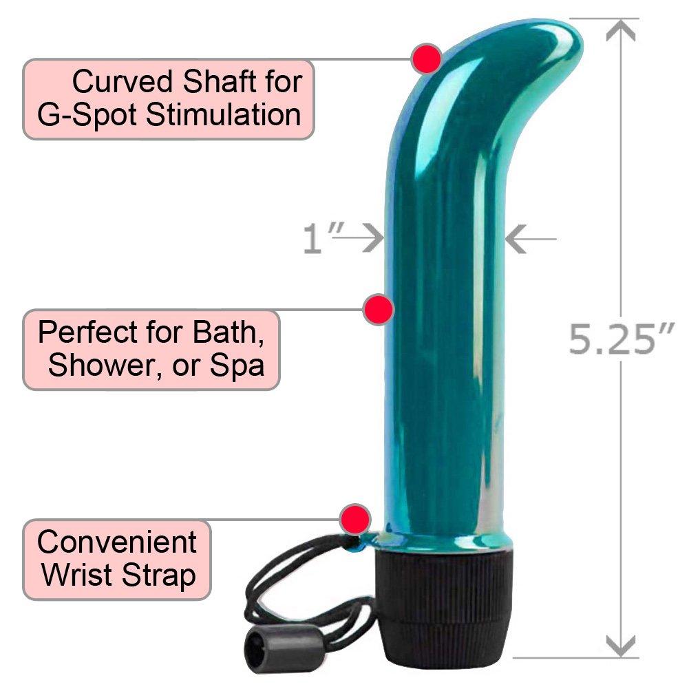 "Skinny Mini G-Spot Waterproof Vibrator, 5.25"", Iridescent Teal"