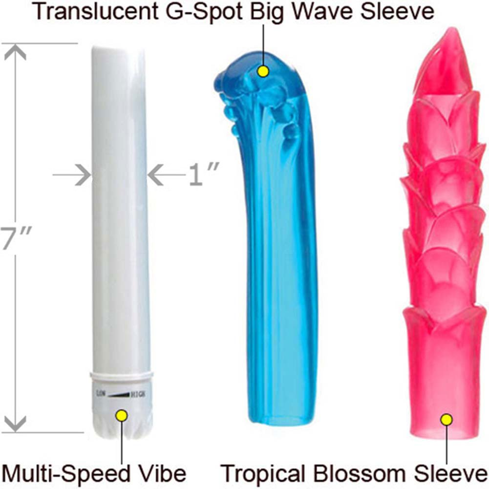 """Eden Island Waterproof Fantasy Kit with Vibrator and 2 Jelly Sleeves, 7"""""""