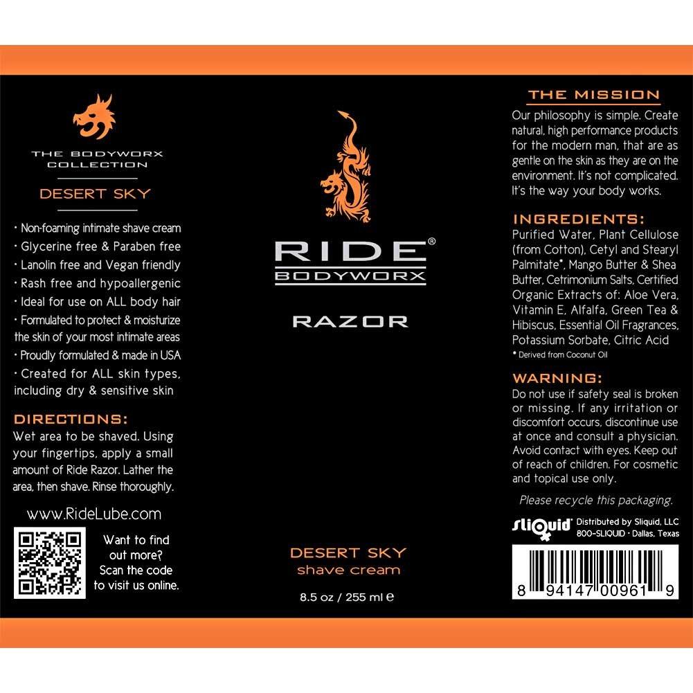 Ride Bodyworx Razor Body Shaving Cream, 8.5 Fl.Oz (255 mL), Desert Sky