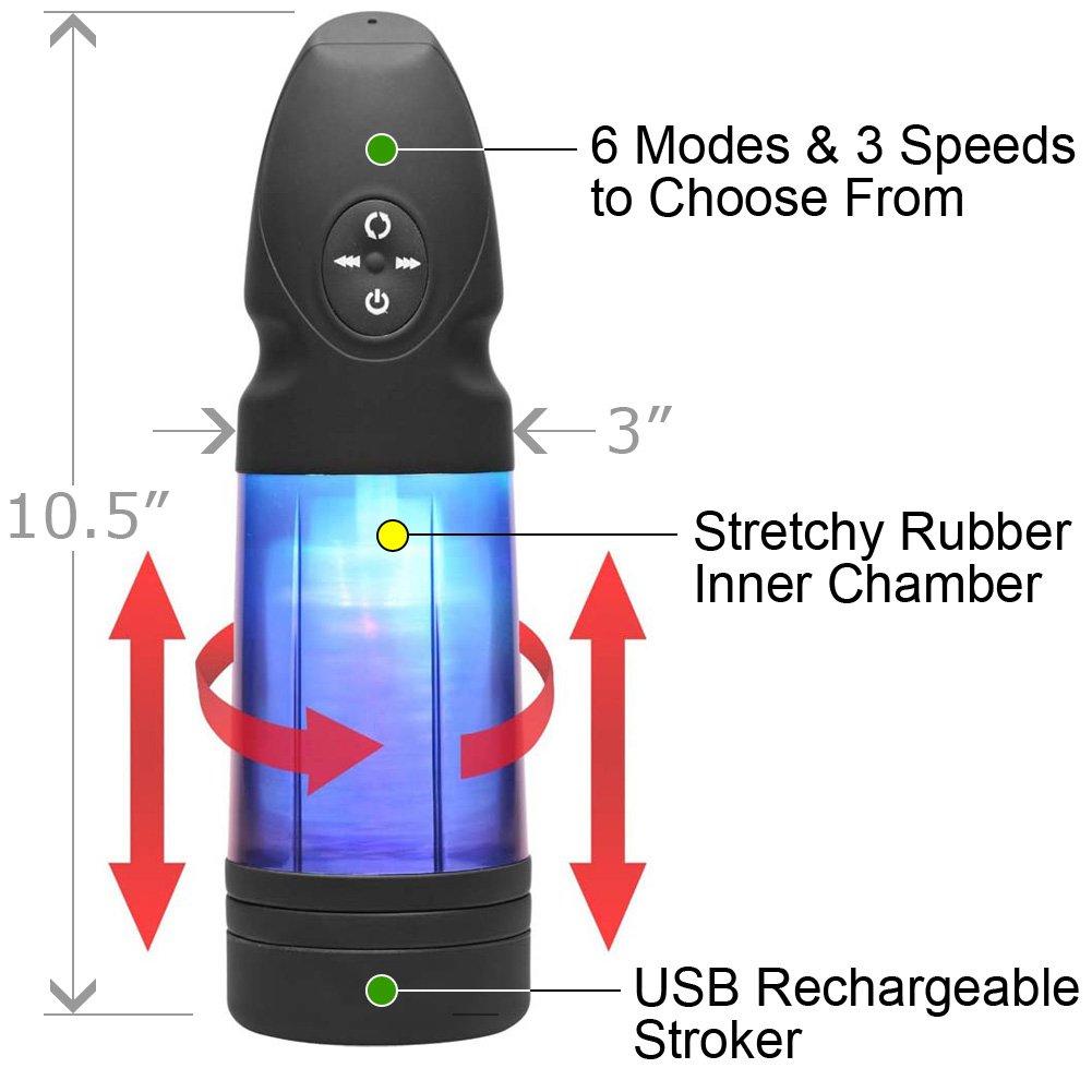 Love Botz Strobe Multi Function Rechargeable Stroker, Black