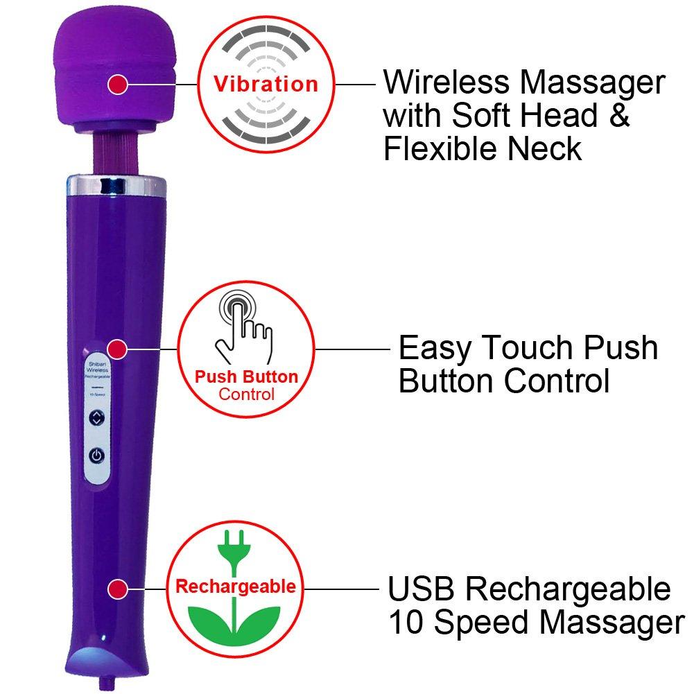 Shibari My Wand Wireless Rechargeable 10 Speed Personal Massager, Purple