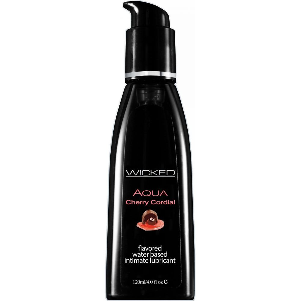 Wicked Aqua Flavored Water Based Intimate Lubricant, 4 Fl.Oz (120 mL) Cherry Cordial
