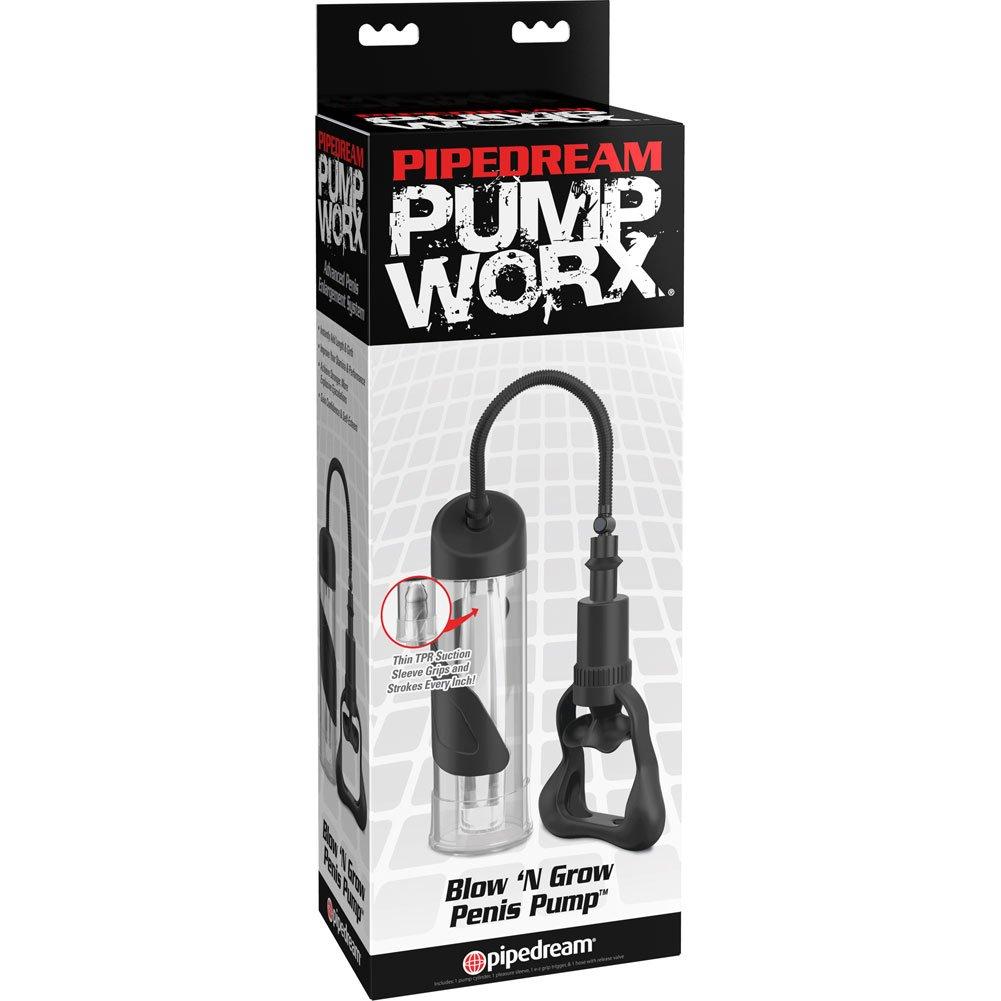 """Pump Worx Blow N Grow Penis Pump, 7.5"""" by 2.75"""", Clear/Black"""