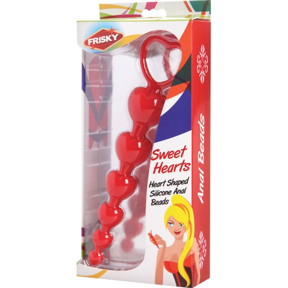 """Frisky Sweet Heart Silicone Anal Beads, 6"""", Red"""