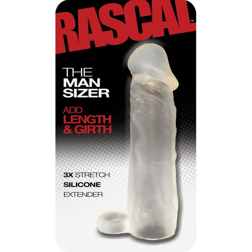 """2"""" Extra Length Rascal Silicone Penis Extension with Ball Strap, 6.5"""", Clear"""