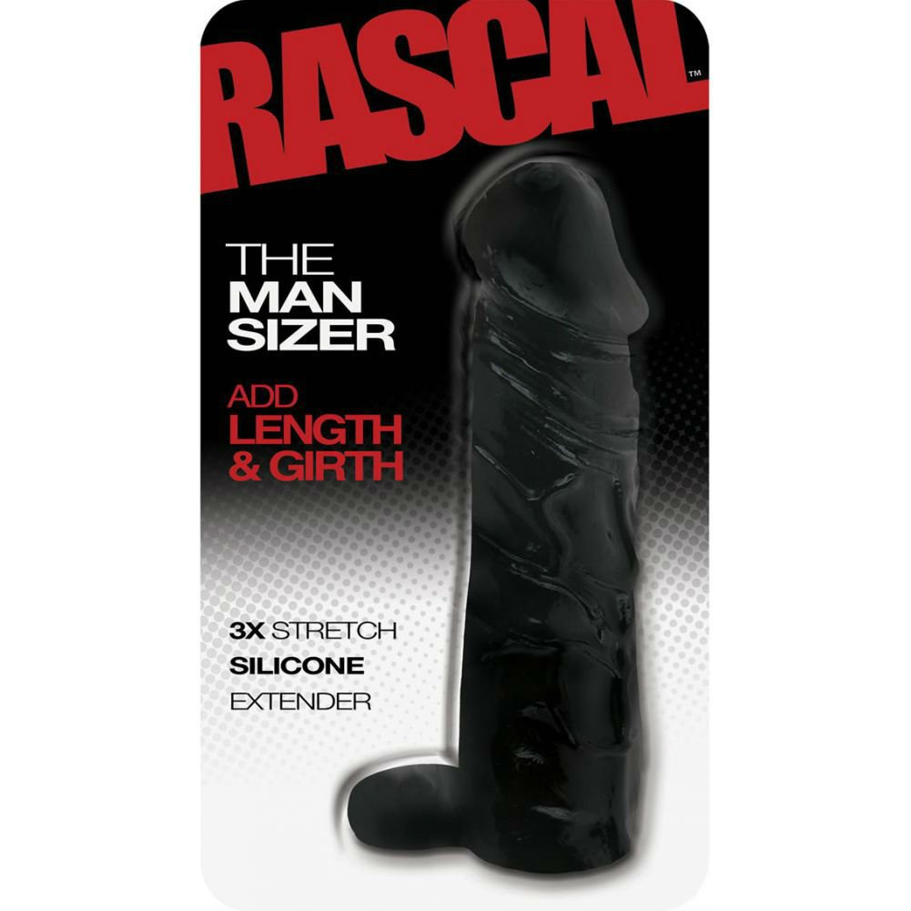 """2"""" Extra Length Rascal Silicone Penis Extension with Ball Strap, 6.5"""", Black"""