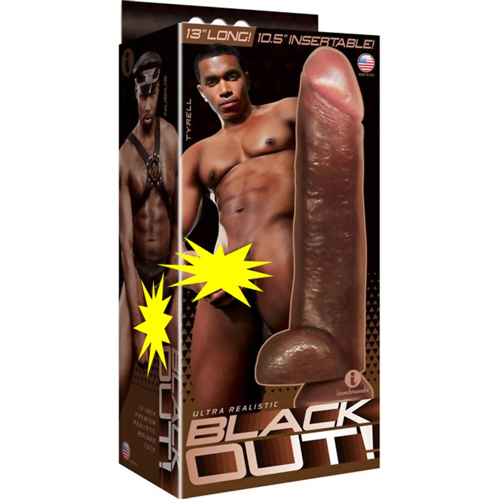 "Blackout Realistic Cock and Balls with Suction Cup, 13"", Black"