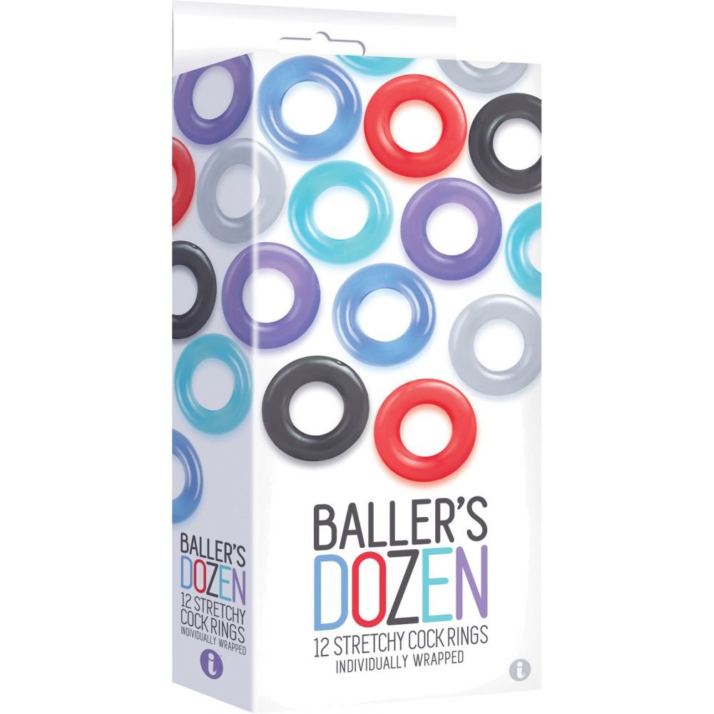 Icon Brands Ballers Dozen Stretchy Cock Rings, 12 Pack, Assorted Colors