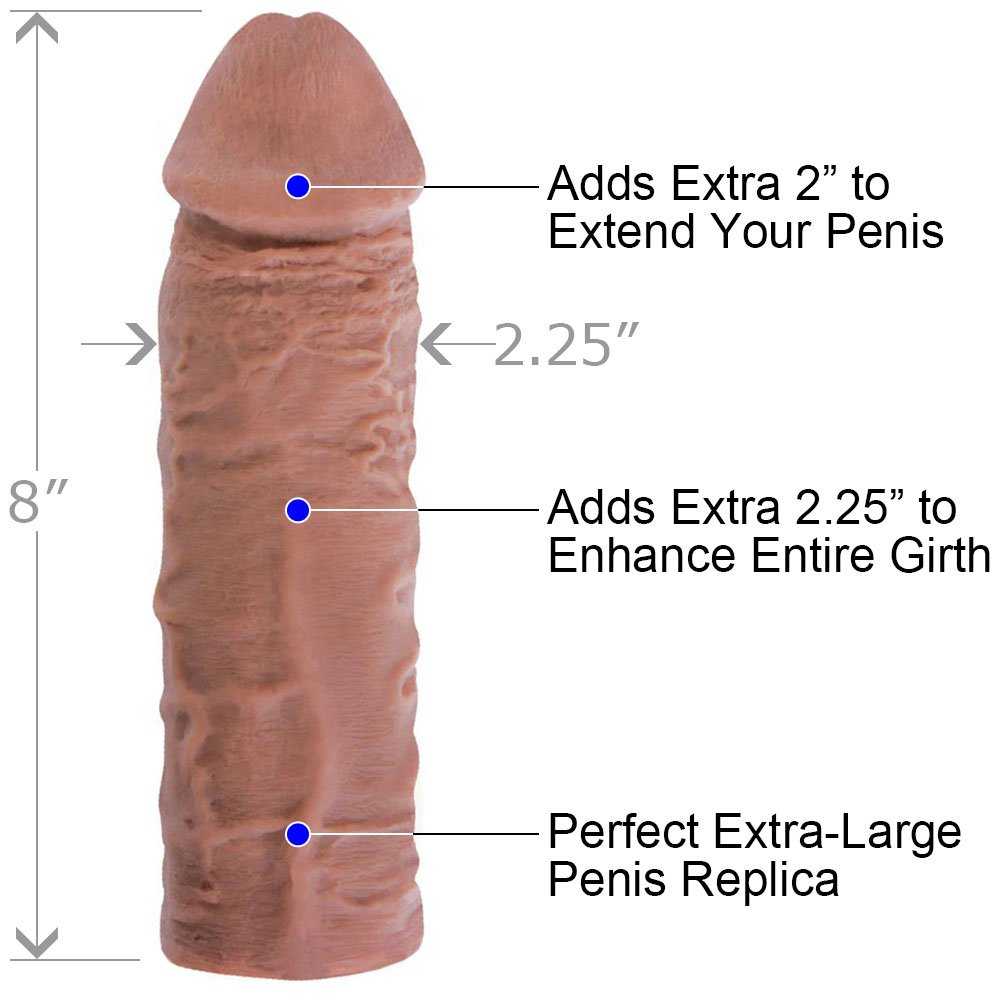 """2"""" Extra Length Super Thick Penis Extension, 8"""", Brown"""