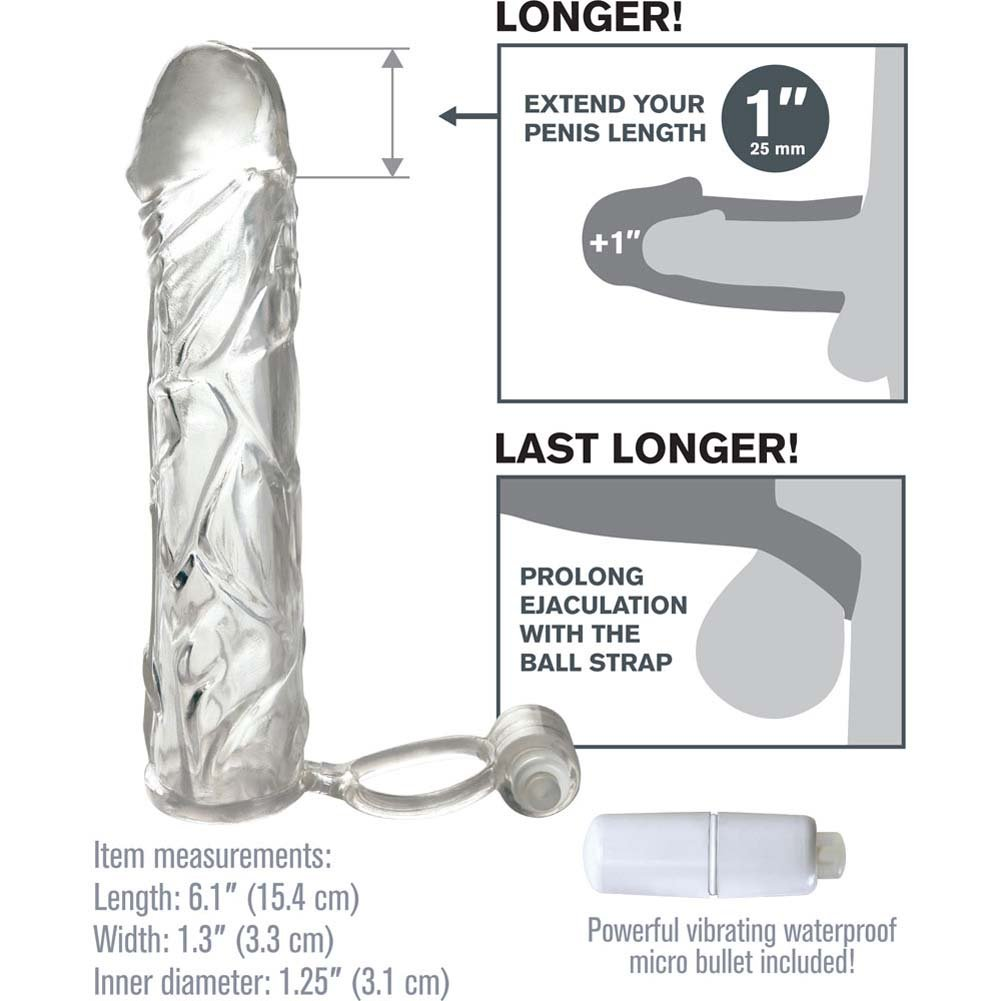 """Fantasy X-Tensions 1"""" Extra Length Vibrating Super Sleeve, 6"""", Clear"""