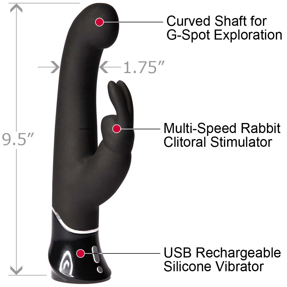 Fifty Shades of Grey Greedy Girl G-Spot Rechargeable Rabbit Vibrator, Black