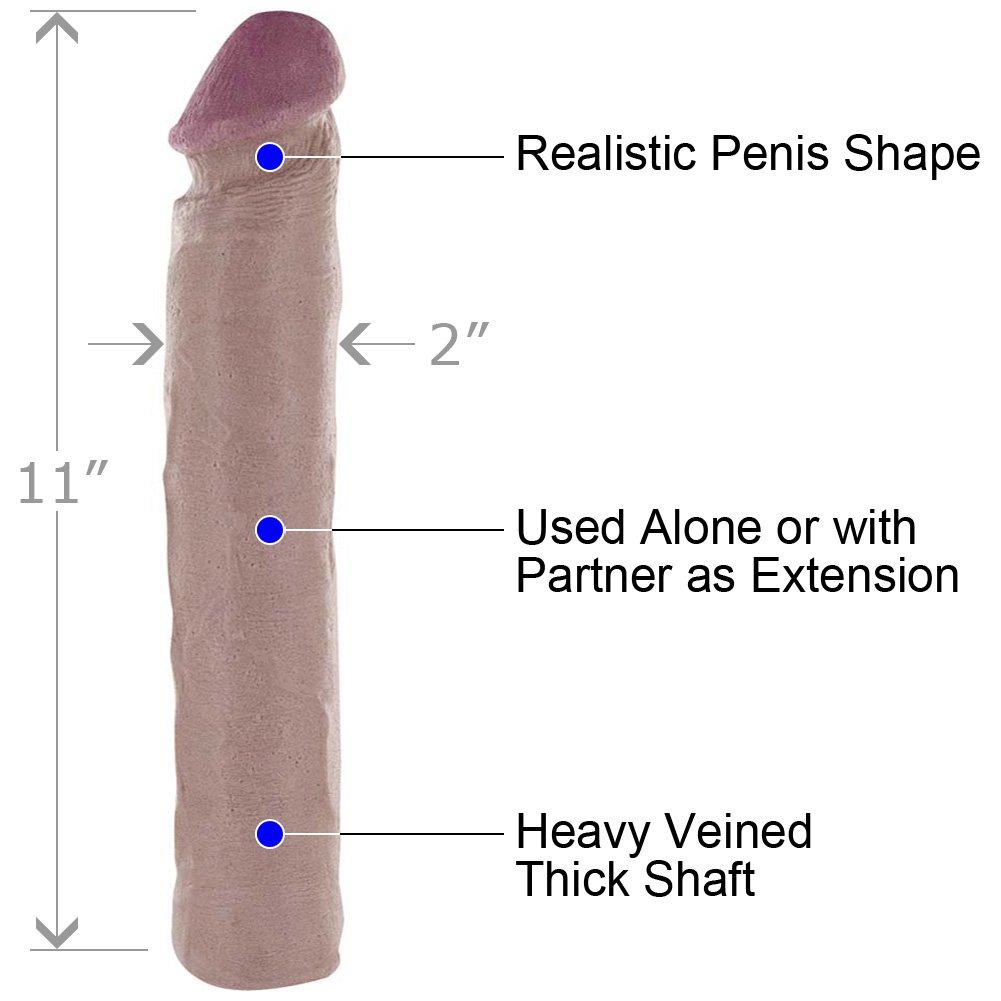 "Magnificent Eleven Super Dong Penis Extension, 11"", Flesh"