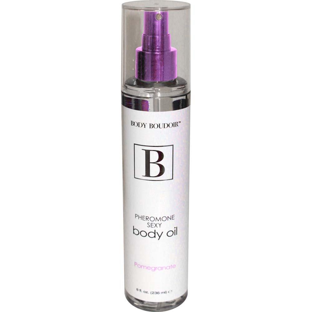 Body Boudoir Pheromone Sexy Body Oil for Sensual Massage, 8 Fl.Oz Pomegranate