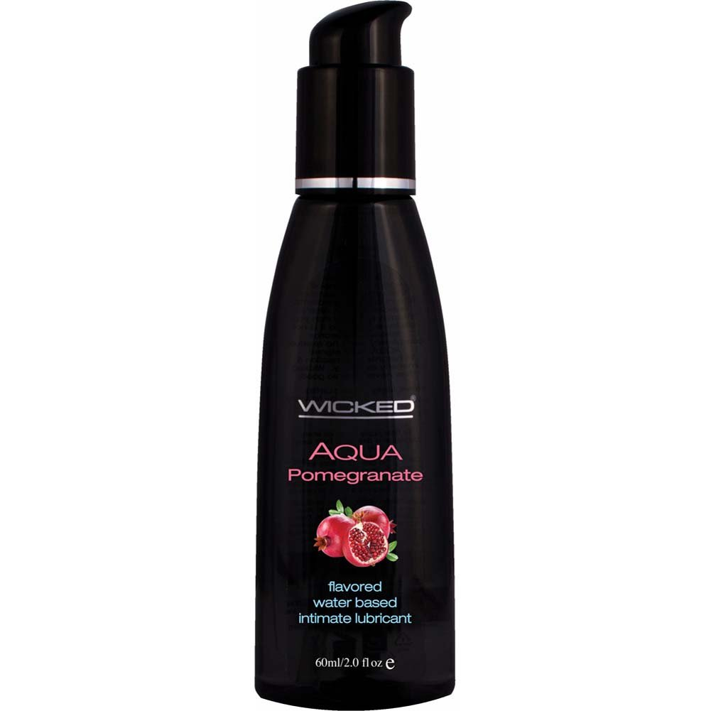 Wicked Aqua Flavored Water Based Intimate Lubricant, 2 Fl.Oz (60 mL) Pomegranate