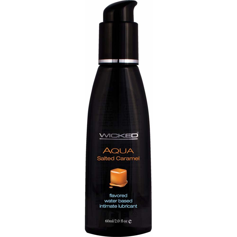 Wicked Aqua Flavored Water Based Intimate Lubricant, 2 Fl.Oz (60 mL) Salted Caramel