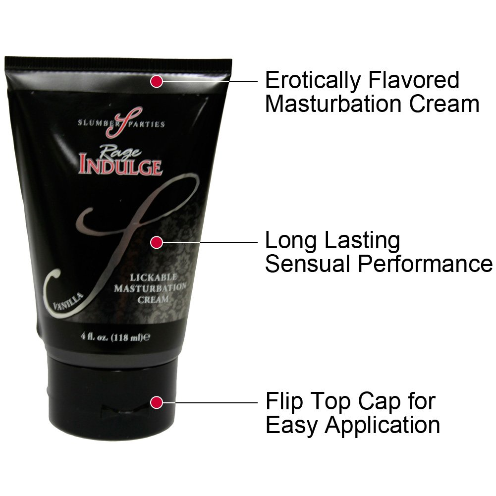 Rage Indulge Lickable Masturbation Cream, 4 Fl.Oz (118 mL), Vanilla Frosting