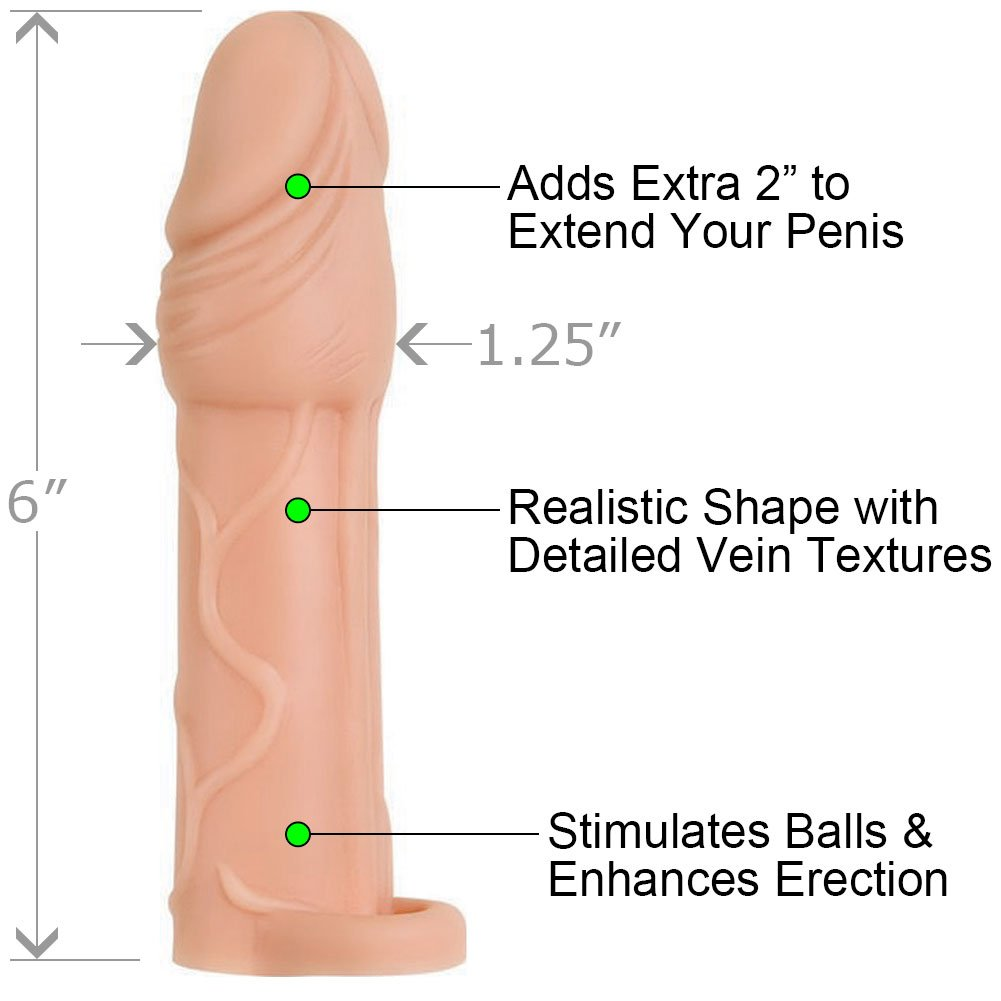 "2"" Extra Length Adam and Eve True Feel Penis Extension with Ball Strap, 6"", Flesh"