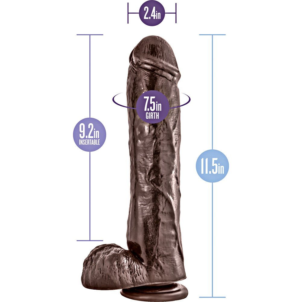 """Dr Skin Mr Savage Dildo with Suction Cup, 11.5"""", Chocolate"""