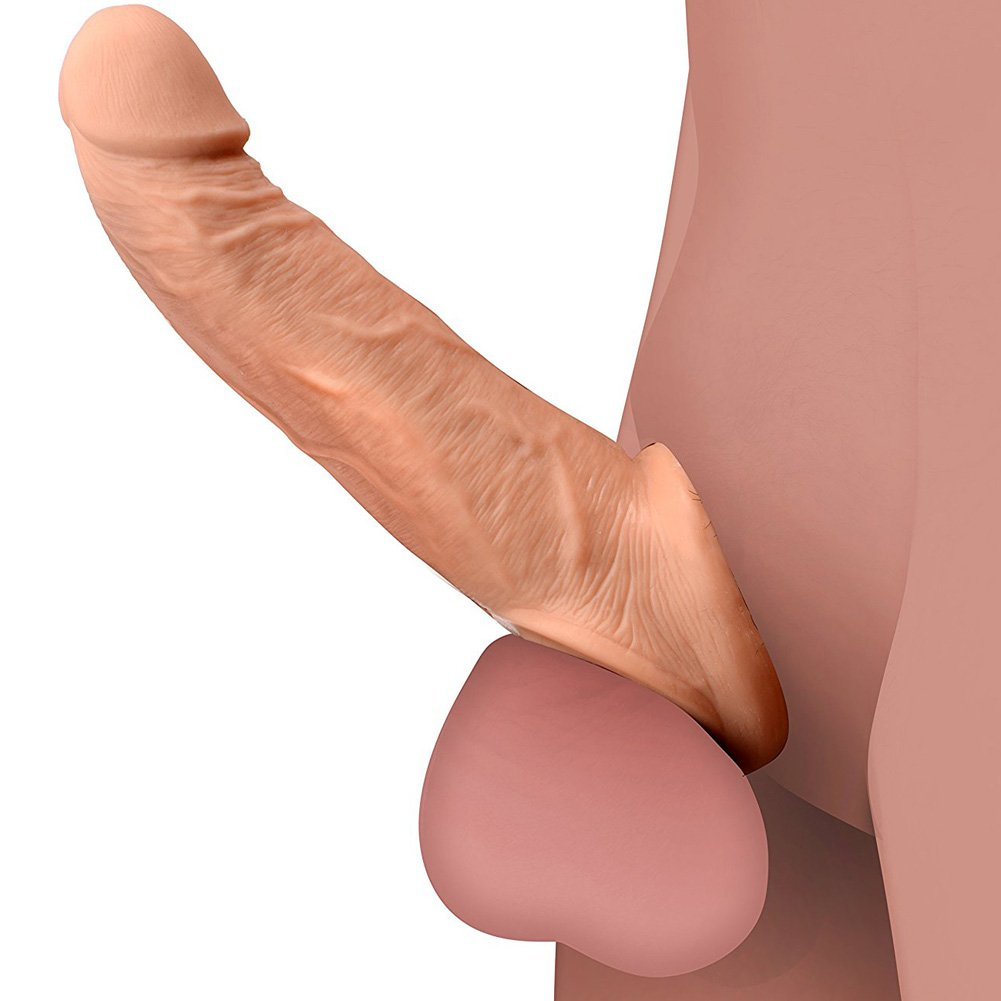 """Size Matters Ultra Real 2"""" Solid Tip Penis Extension, 8.5"""", Beige"""