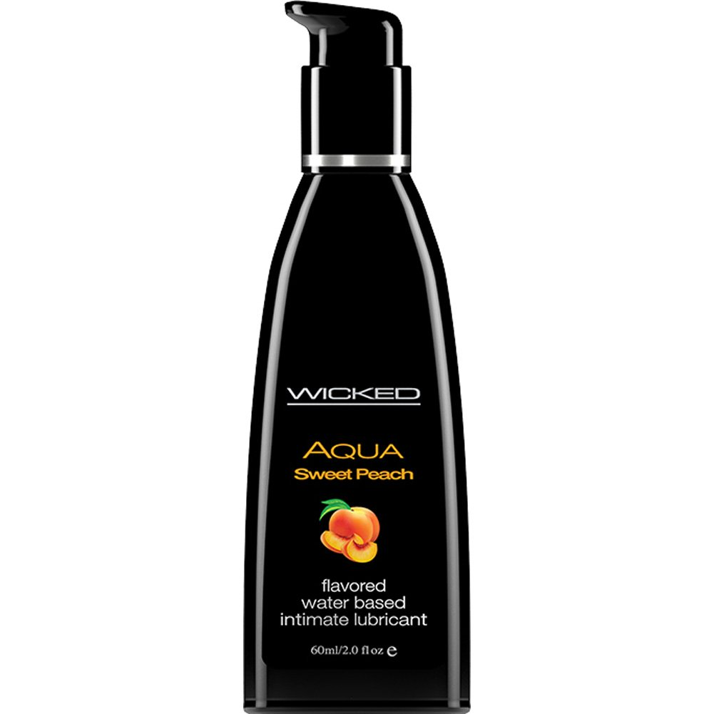 Wicked Aqua Flavored Water Based Intimate Lubricant, 2 Fl.Oz (60 mL), Sweet Peach