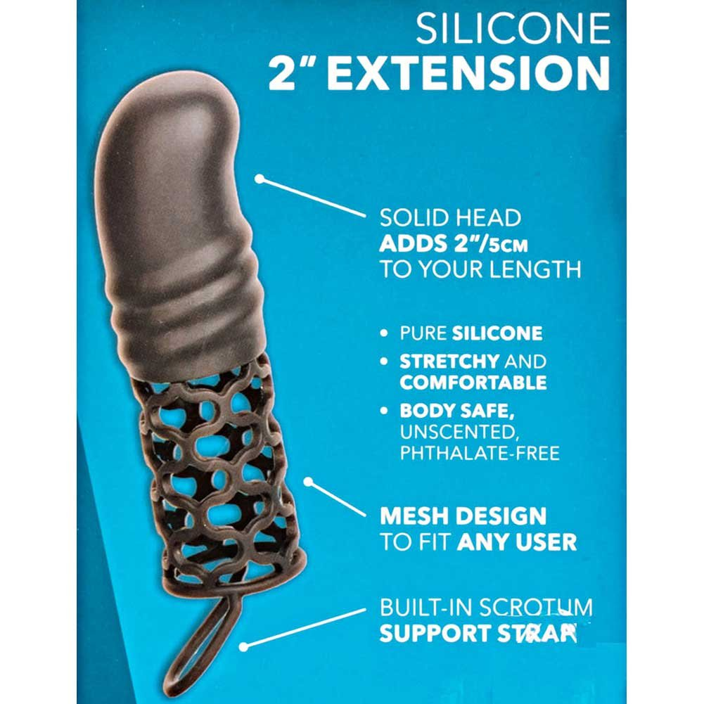 """2"""" Extra Length Penis Extension with Support Ring, 5.75"""", Black"""