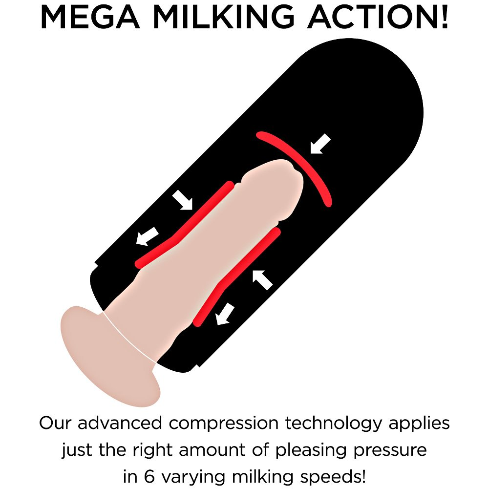"PDX Elite Mega Milker Vibrating Masturbator, 9"", Beige"