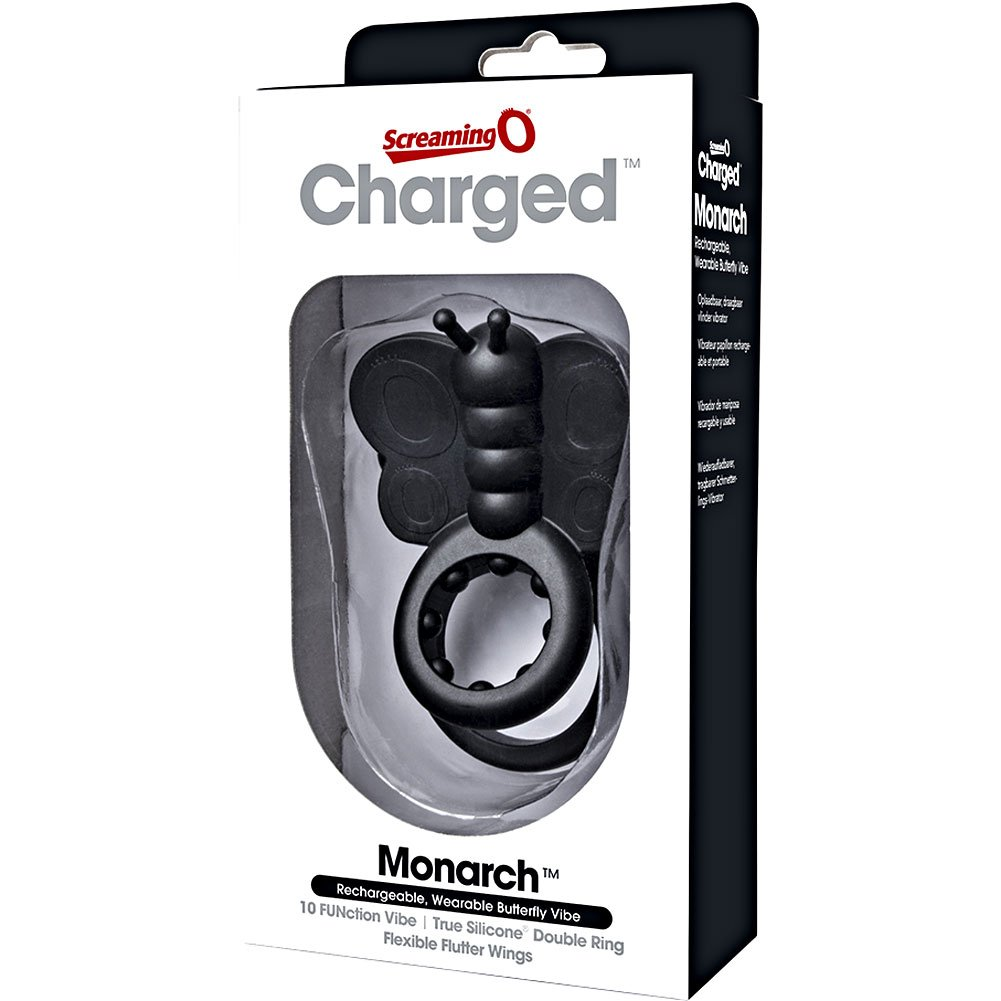 Screaming O Charged Monarch Wearable Butterfly Vibrators, Black
