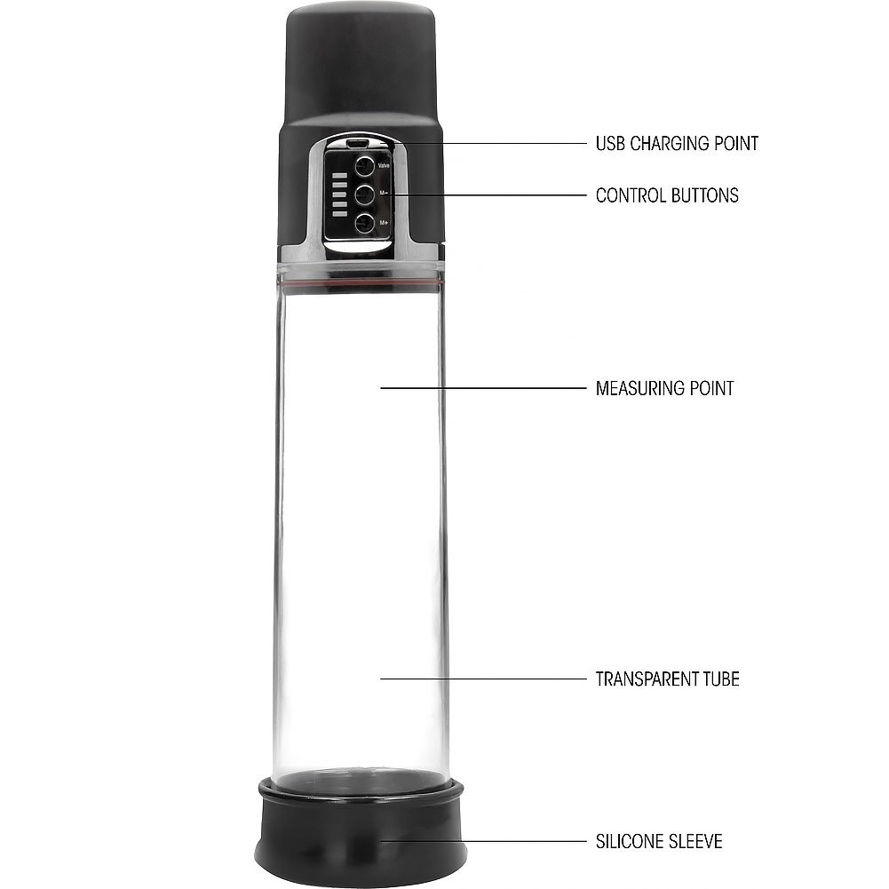 """Pumped Premium Rechargeable Automatic Pump, 8"""" by 2.5"""", Clear"""