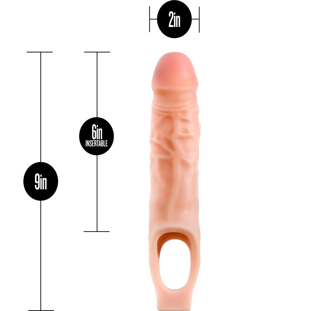 """0.5"""" Extra Length Performance Penis Extension with Ball Strap, 9"""", Vanilla"""