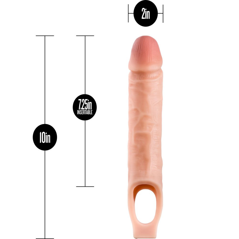 """1.5"""" Extra Length Performance Plus Penis Extension with Ball Strap, 10"""", Vanilla"""