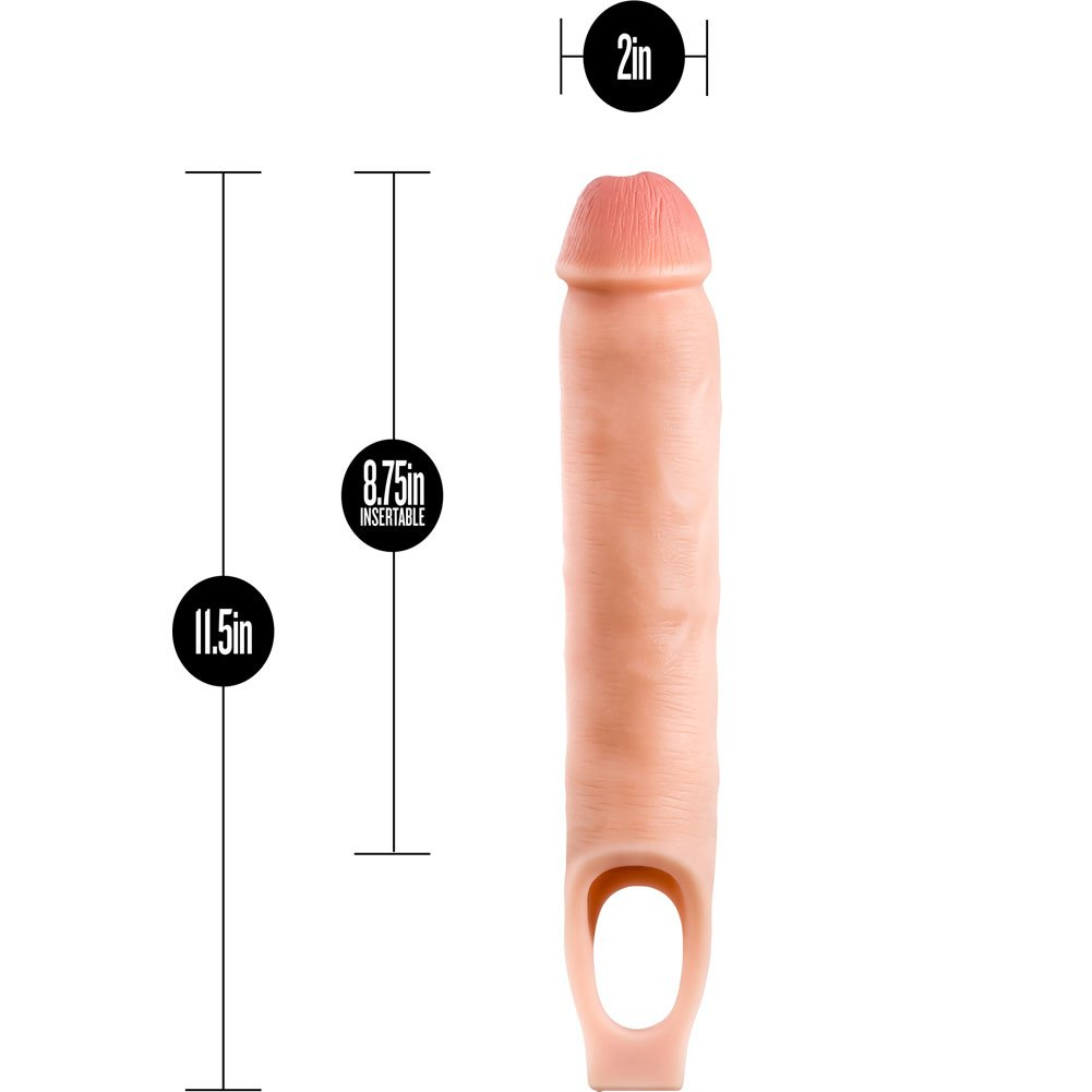 """Performance Plus 2.5"""" Extra Length Penis Extension with Ball Strap, 11.5"""", Vanilla"""