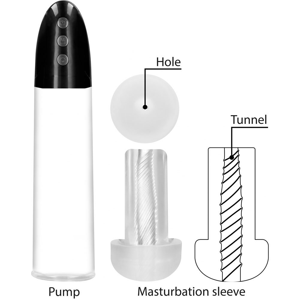 Pumped Rechargeable Automatic Cyber Pump with Masturbation Sleeve, Clear