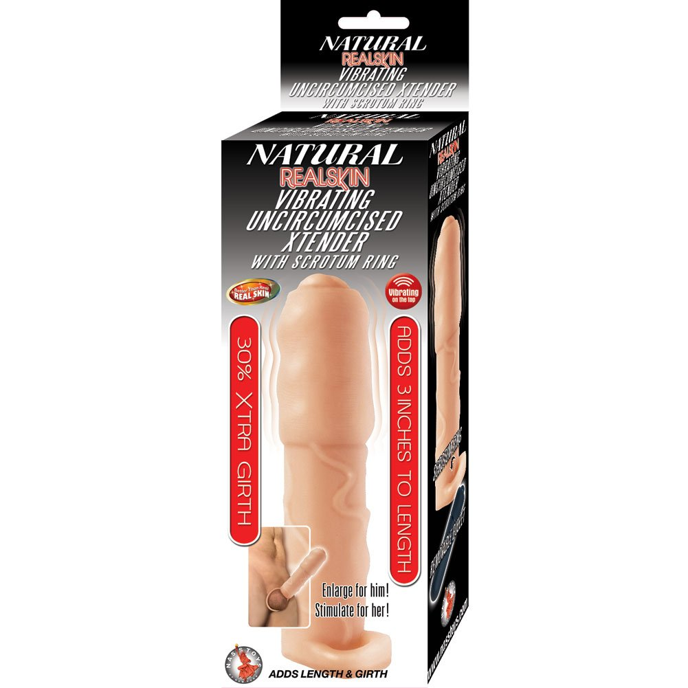 """3"""" Extra Length Realskin Vibrating Uncircumsised Xtender with Scrotum Ring, Flesh"""