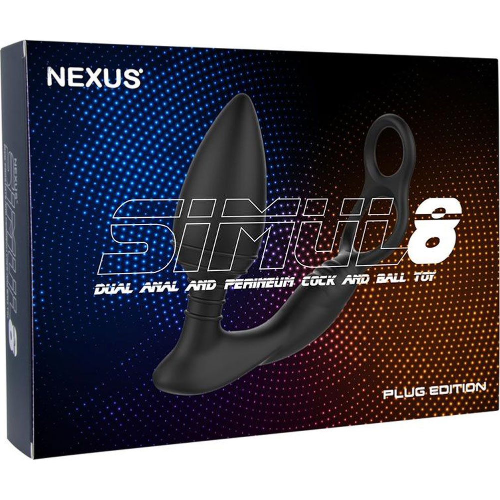 Nexus Simul8 Vibrating Double Cock Ring with Butt Plug, Black