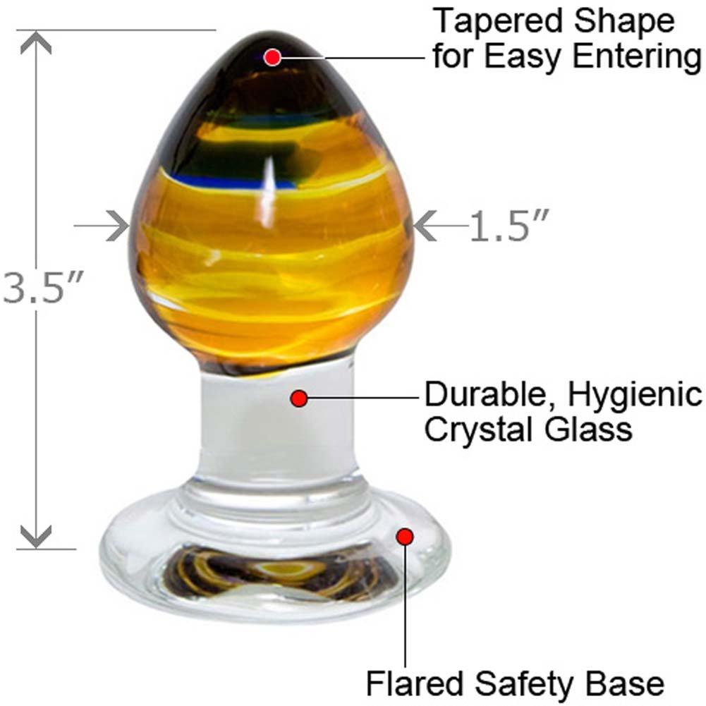 "Prisms Erotic Glass Pranava Anal Plug, 3.5"", Amber"